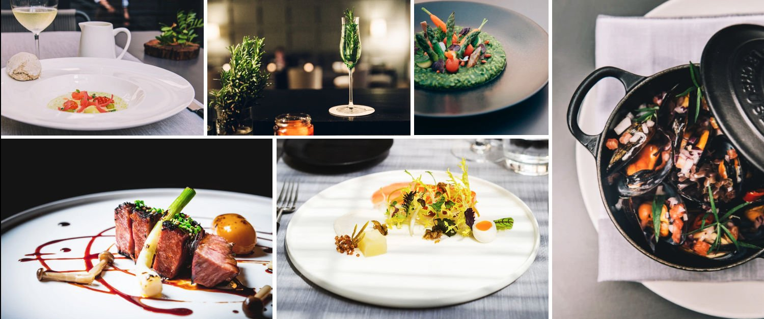 Collage of courses served in the hotel restaurants at Sant Francesc