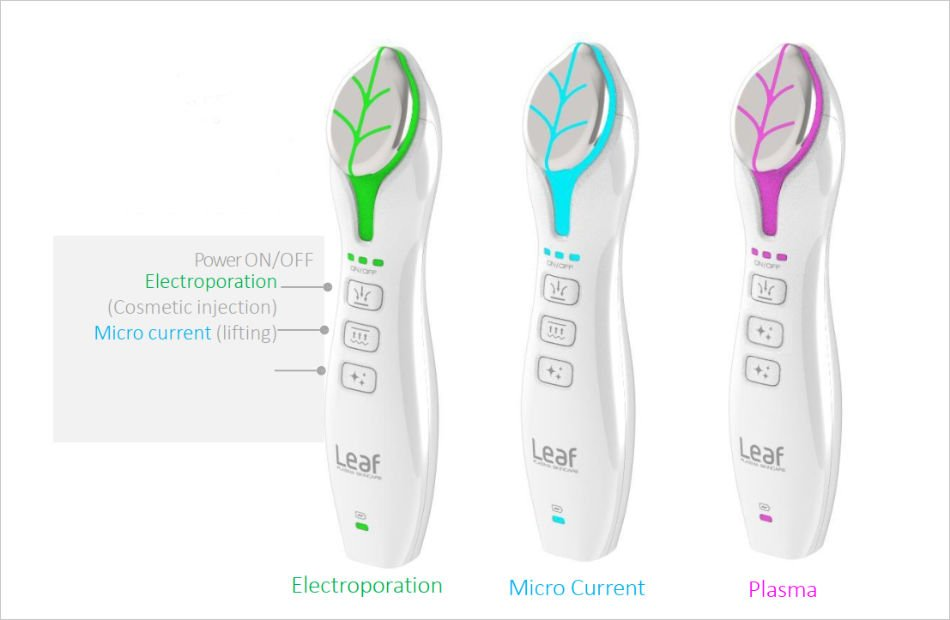 Leaf device features three key skin care technologies in one single device; Fusion plasma technology, Smart boosting technology, Micro-current technology