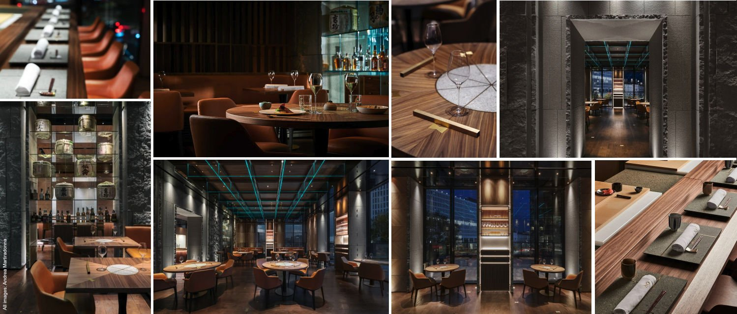 Collage of images of the interior design and decoration at IYO Aalto Japanese restaurant in Milan