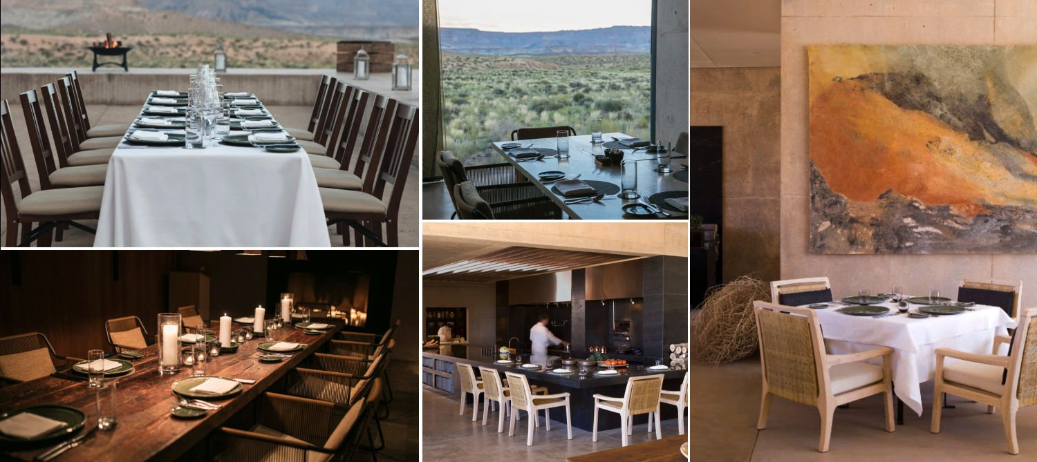 Collage of the different restaurants at Amangiri