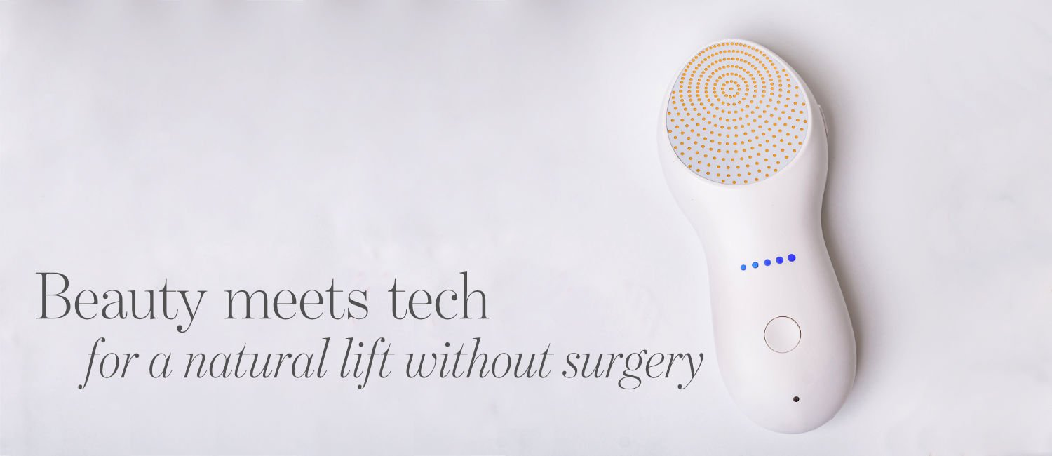 Nebulyft radio frequency machine and text 'Beauty meets tech for a natural lift without surgery'