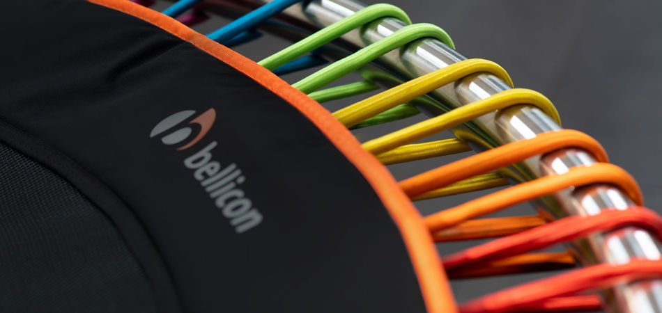 Close up of bungees on a bellicon rebounder