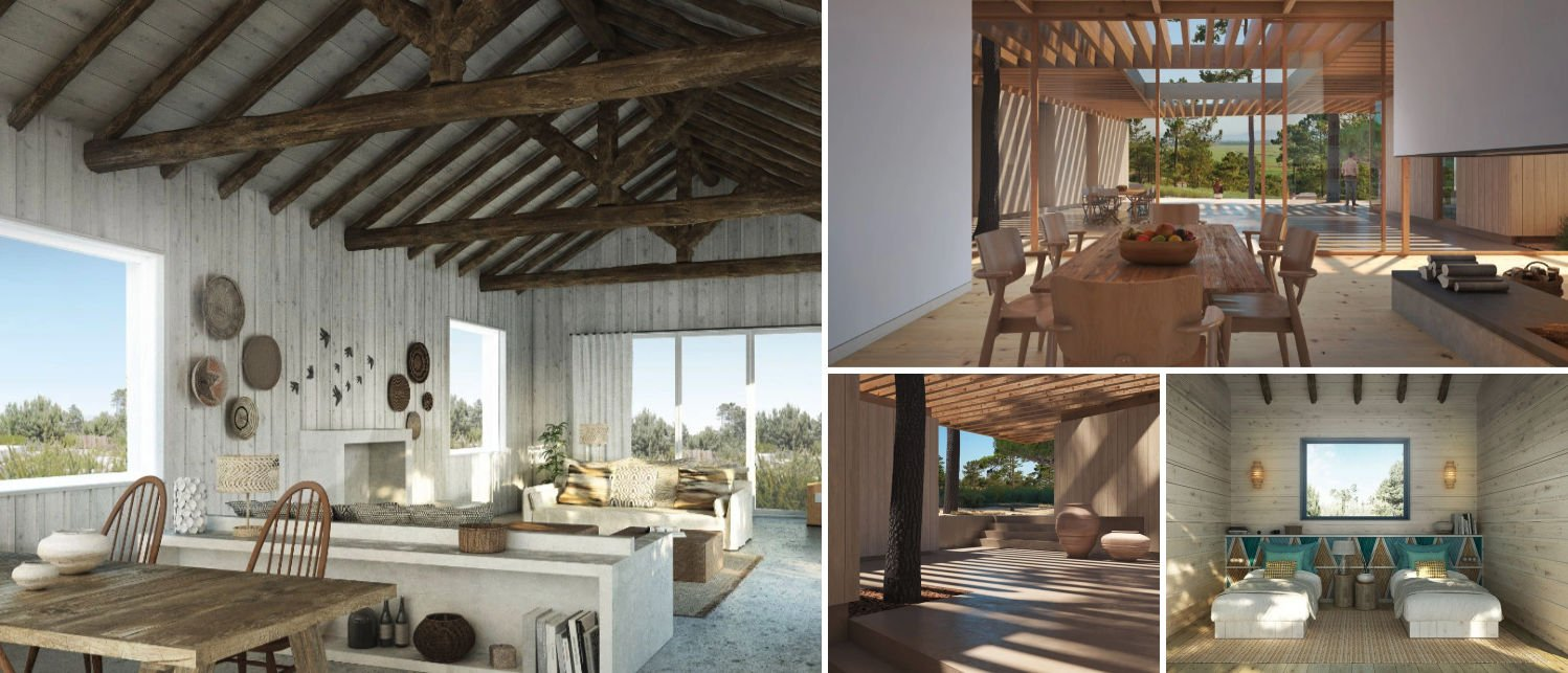 Collage of interiors from Comporta Retreat