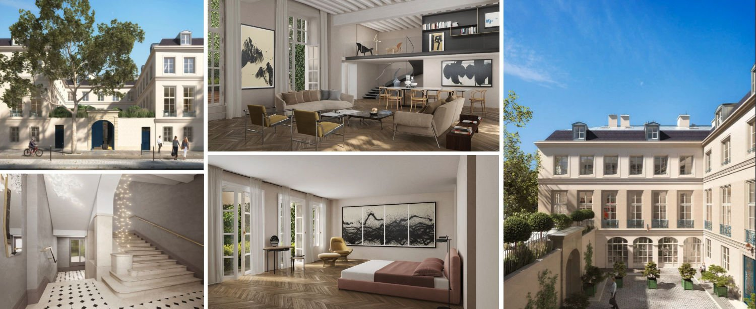 Collage from luxury apartments for sale in newly refurbished historic building in Paris