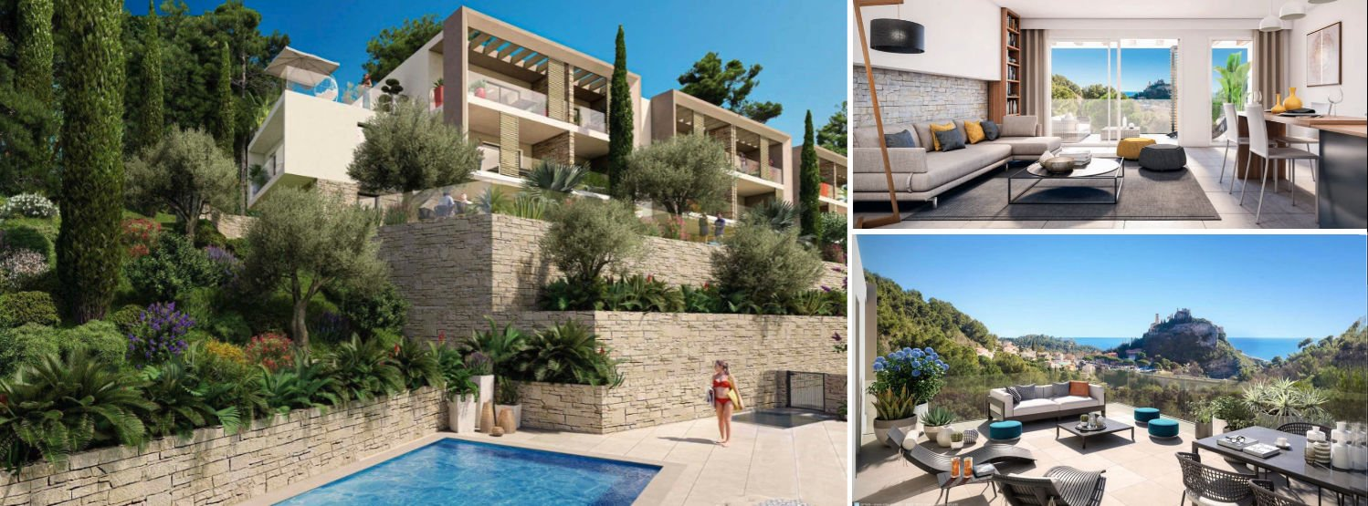 Photo montage of images of new luxury apartments in Eze Village on the French Riviera