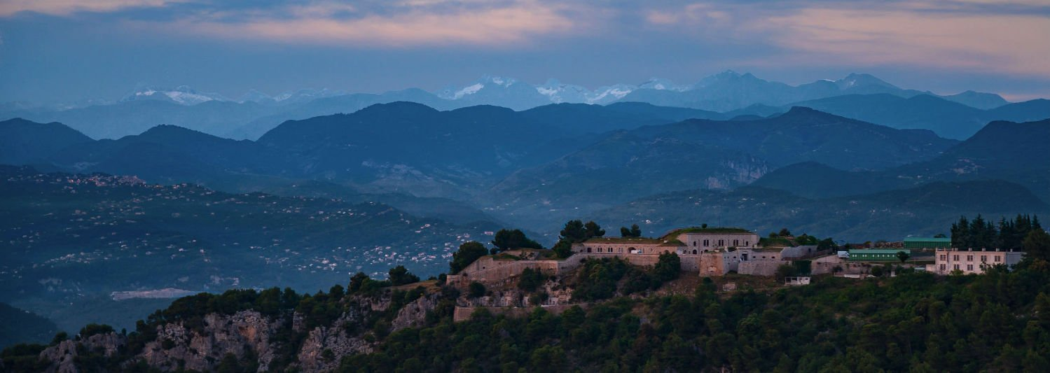 Aerial over hills near Eze in the south of France