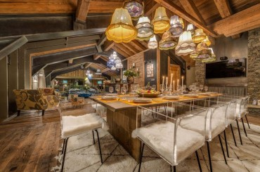 Dining room in luxury ski chalet in the French Alps