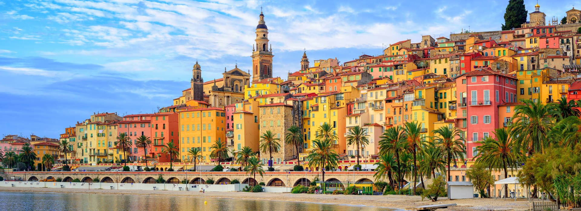 View of Menton on the French Riviera close to Italy