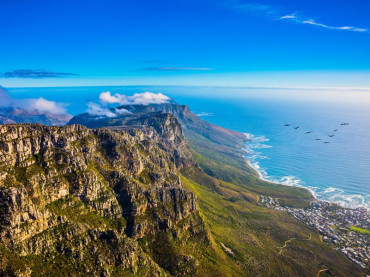 View over the Atlantic Ocean from from the Table Top Mountain in Cape Town