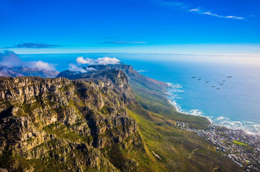 Top view of the Atlantic Ocean from Table Mountain, Cape Town South Africa