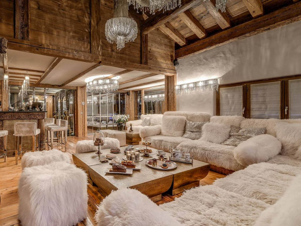 Extravagant sofa and after ski nibbles in Alpine chalet