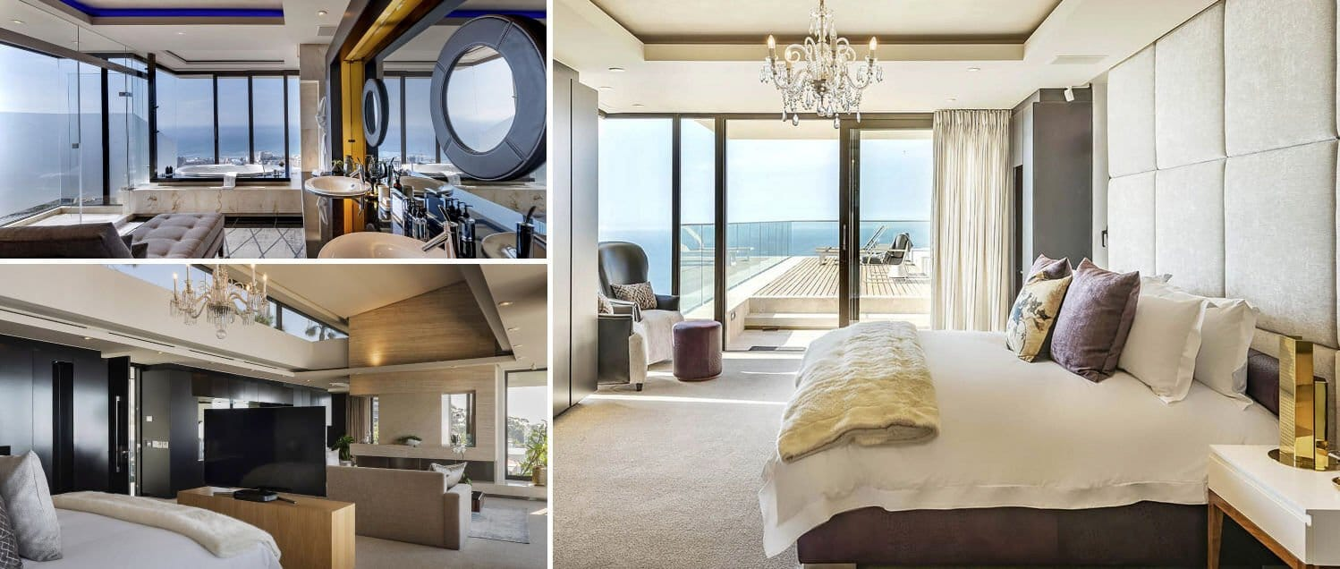 Collage of bedrooms in luxury villa for rent in Camps Bay