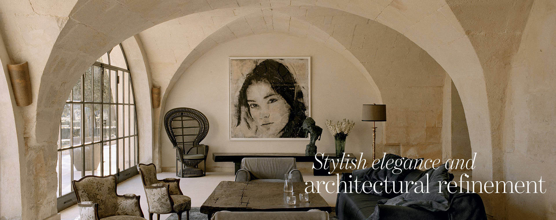 Interior of bastide in provence mixing traditional architecture and modern interiors