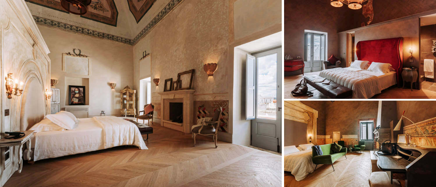 Collage of bedrooms at the boutique hotel Paragon 700 in Puglia