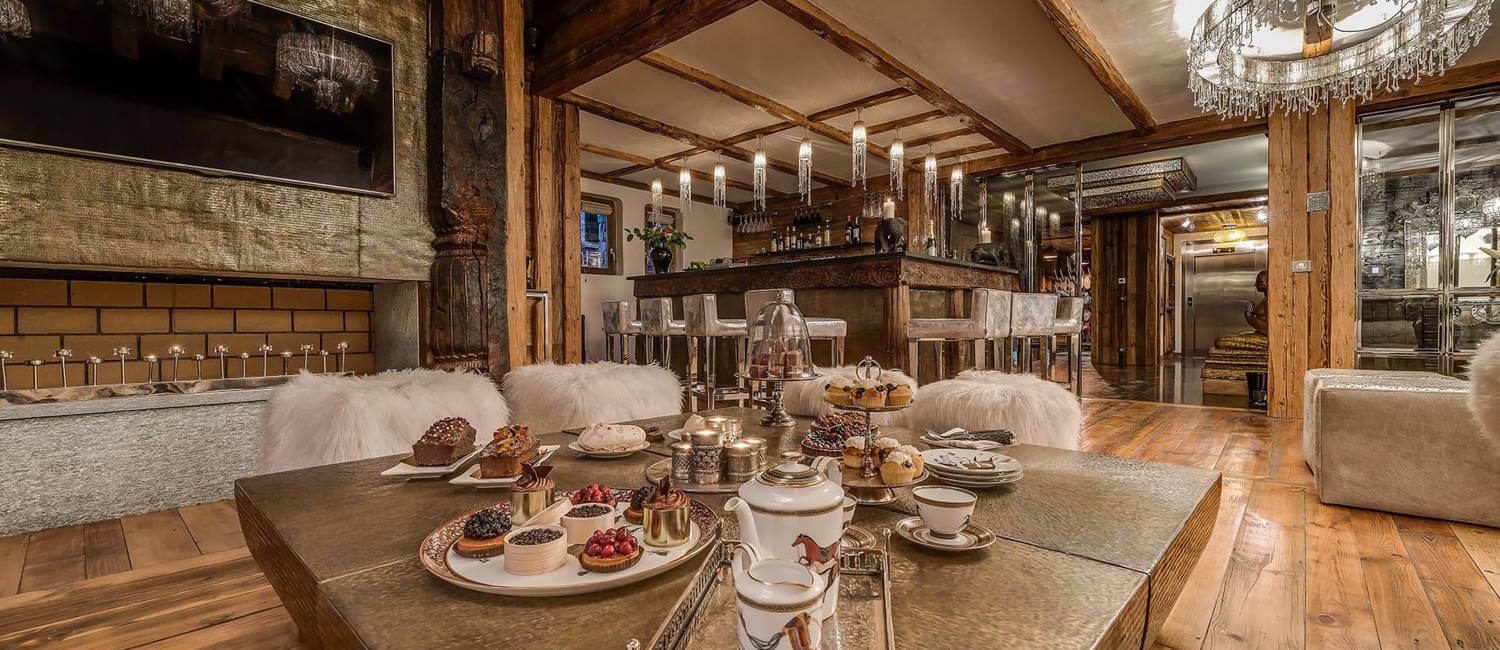 After ski with champagne prepared in luxury ski chalet