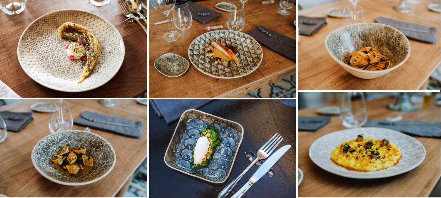 Collage of courses from the hotel restaurant