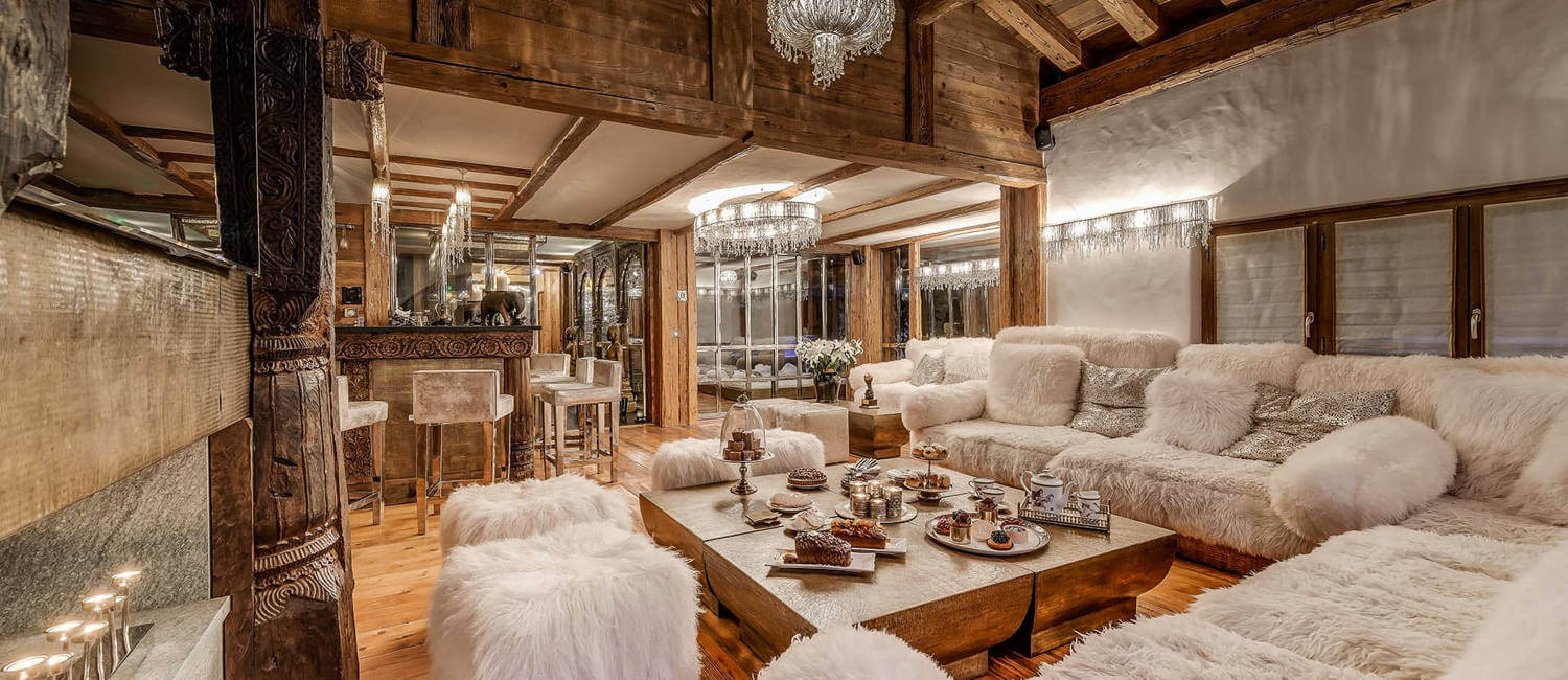 After ski nibbles prepared in the lounge of opulnt ski chalet in Val d'Isere