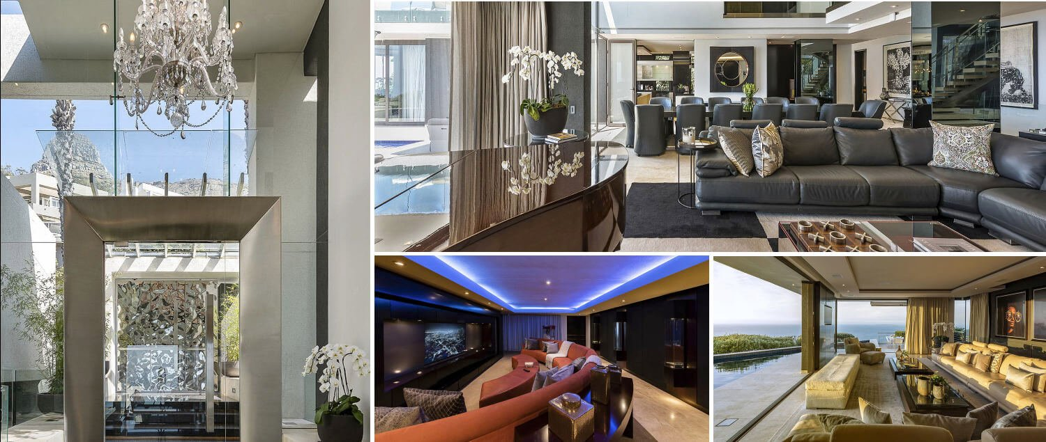 Collage - indoor living areas in villa to rent in Camps Bay Cape Town