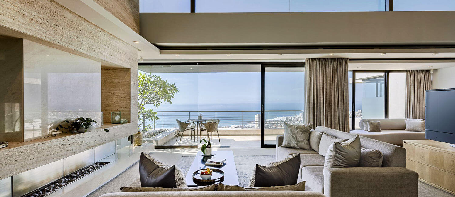 Luxurious lounge in villa located in Fresnaye, Cape Town, overlooking the ocean