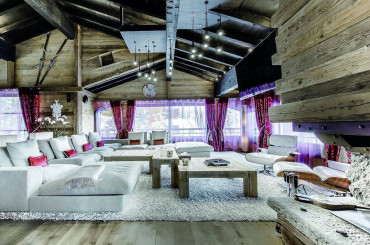 Living room in outstanding chalet in Courchevel, French Alps