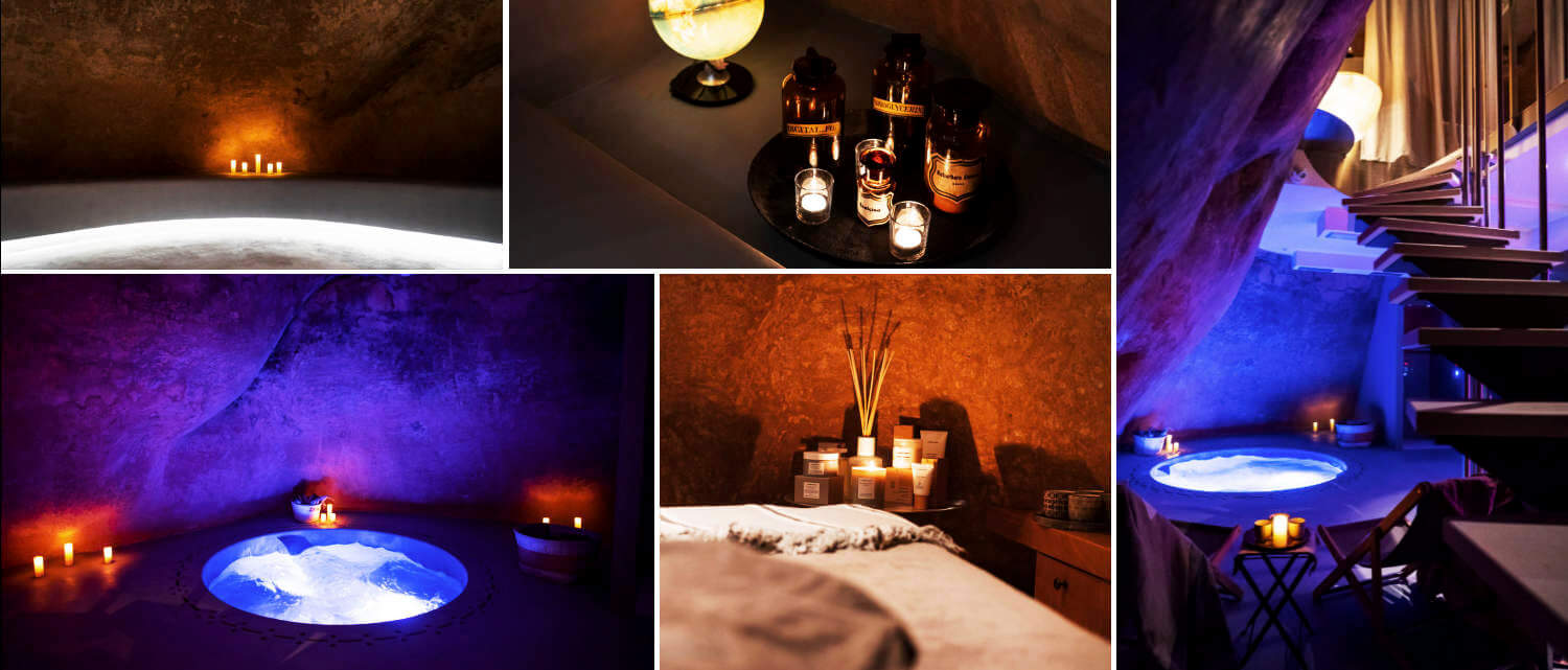 Collage of images of the spa at Paragon 700 hotel in Ostuni Puglia