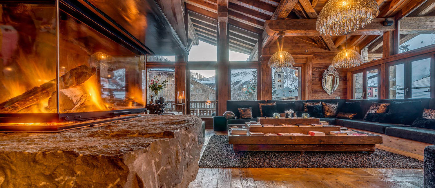 Fireplace in luxury ski chalet in Val d'Isere