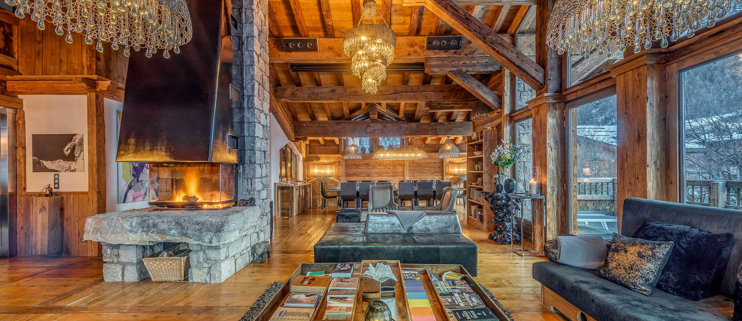 Living room in elegant, traditional and large chalet in Val d'Isere in French Alps