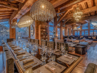 Living and dining room in Val d'Isere chalet