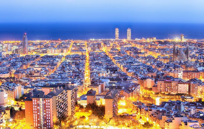 Aerial of Barcelona City by night