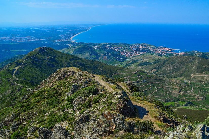 Languedoc aerial with the mountain and the sea