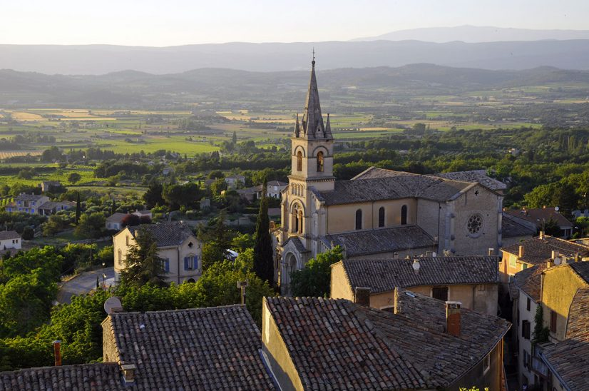 Aerial of small village in Luberon Provence